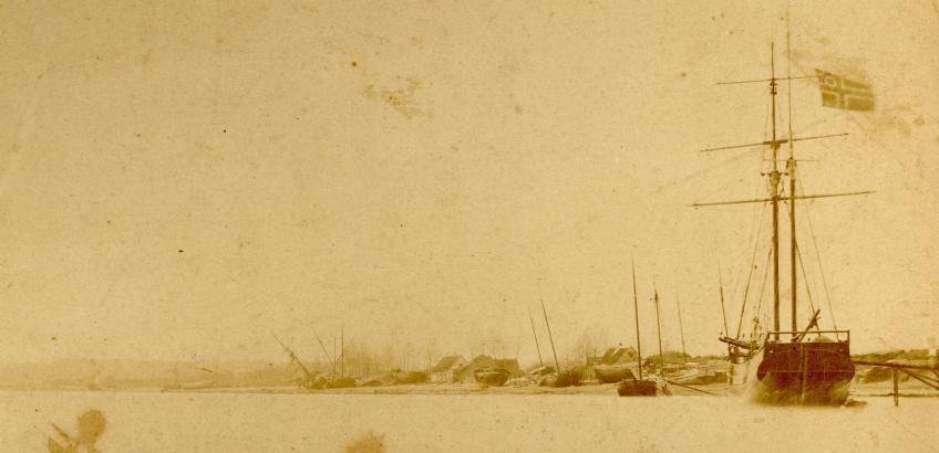 Strandede skibe efter stornflod, 1872