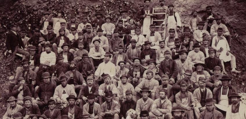 Stenbrydere i Faxe Kalkbrud, 1890